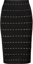 Herve Leger Sia pointelle-knit bandage skirt