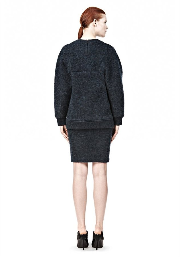 Alexander Wang Brushed Mohair Tucked Sleeve Pullover