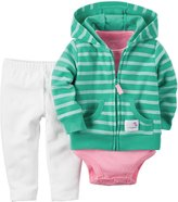 Carter's 3 Piece Cardigan Set (Baby) - Turquoise/White-12 Months