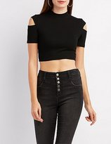 Charlotte Russe Mock Neck Cut-Out Sleeve Crop Top