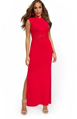 New York & Co. Tall Cap-Sleeve Slit-Leg Maxi Sweater Dress