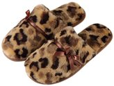 Tofern Slippers Second Skin Sexy Ultra Soft Cosy Faux Fur Fluffy Satin Memory Foam Non Slip Sole Animal Printed Women Ladies Kids Children Girls