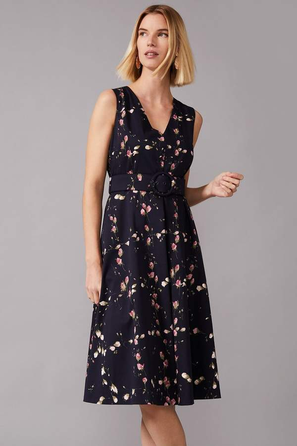 Phase Eight Womens Blue Nala Printed Fit & Flare Dress - Blue