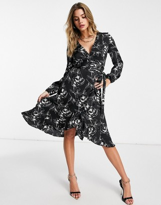 Lipsy wrap dress in mono print
