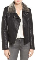 Rachel Roy Women's Faux Leather Jacket With Faux Fur Trim