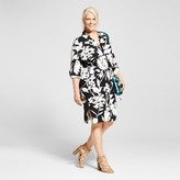 Ava & Viv Women's Plus Size Shirtdress Black and White Floral