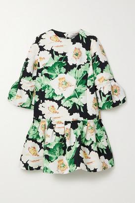 Oscar de la Renta Pleated Floral-print Faille Mini Dress - Green