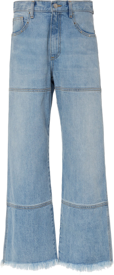 Sandy Liang Betty Frayed Cropped Flared Jean
