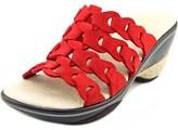 Jambu Romance Women Open Toe Leather Red Slides Sandal.