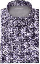 Calvin Klein X Men's Extra-Slim Fit Thermal Stretch Performance Deep Plum Print Dress Shirt