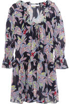 See by Chloe Ruffled Floral-print Silk-crepe Dress - Navy