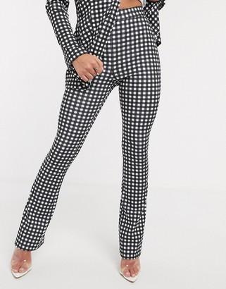 ASOS DESIGN jersey suit slim fit pants in gingham