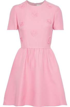 Valentino Floral-appliqued Wool And Silk-blend Mini Dress