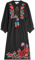Velvet Embroidered Cotton Dress with Linen