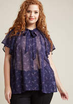 ModCloth Sheer Top with Tie Neck in Starry Night in 3X - Short Sleeve A-line Waist