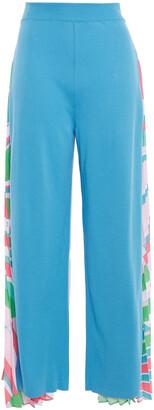 Emilio Pucci Pleated Printed Crepe De Chine-paneled Cotton-blend Jersey Wide-leg Pants