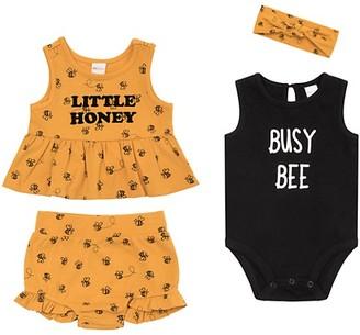 Petit Lem Baby Girl's Little Honey Busy Bee 4-Piece Top, Bottom Headband Set