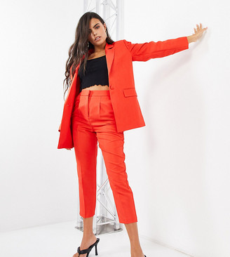 ASOS DESIGN Petite shrunken dad suit blazer in red