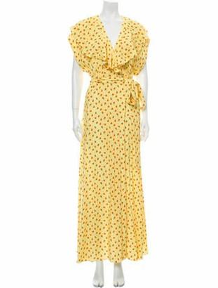 Paul & Joe Floral Print Long Dress w/ Tags Yellow