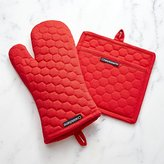 Crate & Barrel Red Oven Mitt and Pot Holder