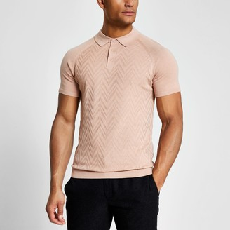 River Island Mens Pink textured slim fit knitted polo shirt