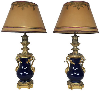 One Kings Lane Vintage French Cobalt Blue Porcelain Lamps - Set of 2
