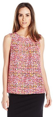 Kasper Women's Abstract Checkered Printed Crepe Keyhole Cami
