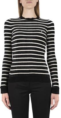 Saint Laurent Striped Sweater In Velvet Jersey With Monogram