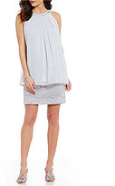 Jessica Howard Halter Pleated-Neck Lace Popover Dress