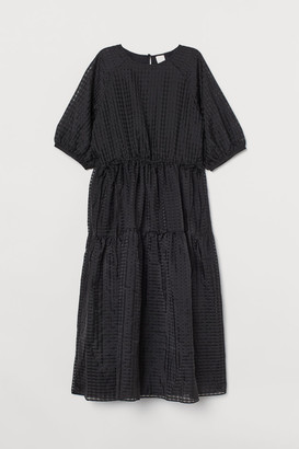 H&M Jacquard-weave Dress - Black