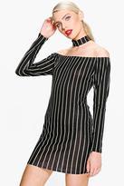 Boohoo Ro Choker Striped Off Shoulder Shift Dress