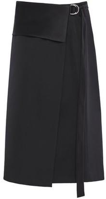 Helmut Lang Satin-trimmed Wool-twill Wrap Skirt