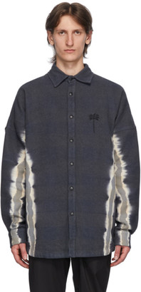 Palm Angels Grey Tie-Dye Palm Over Shirt