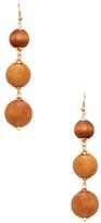 Kenneth Jay Lane Triple Wooden Ball Statement Earrings