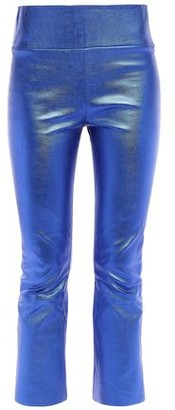 Sprwmn Metallic Stretch-leather Kick-flare Pants