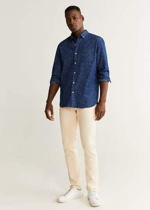 MANGO MAN - Regular fit printed real indigo shirt indigo blue - XXS - Men