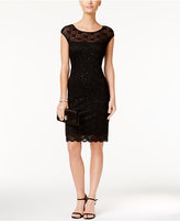 Connected Sequined Illusion Lace Sheath Dress