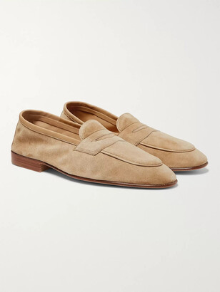 Edward Green Polperro Suede Penny Loafers - Men - Neutrals