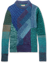 Burberry Runway Patchwork Ribbed And Cable-knit Cashmere And Wool-blend Sweater - Blue