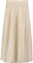 Current/Elliott The Rancher Embroidered Ruffled Cotton Midi Skirt