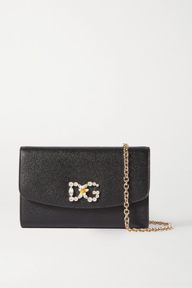 Dolce & Gabbana Mini Crystal-embellished Textured-leather Shoulder Bag - Black