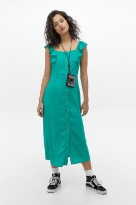 Billabong X Sincerely Jules Day Tripped Maxi Dress - Green XS at Urban Outfitters