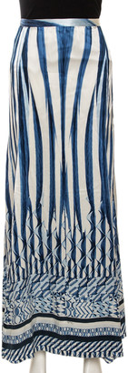 Roberto Cavalli Blue Abstract Stripe Printed Silk Flared Maxi Skirt L