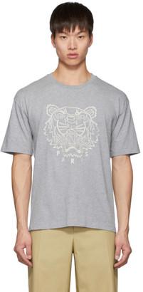 Kenzo Grey Blanket Stitch Tiger T-Shirt