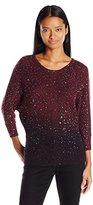XOXO Women's Ombre Sequin Dolman Pullover Sweater