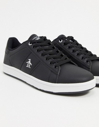 Original Penguin steadman lace up sneakers in black