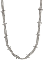 Ten Thousand Things Studded Double Chain Choker Necklace - Sterling Silver