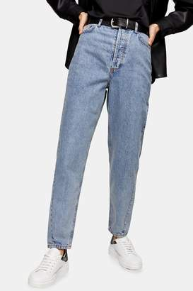 Topshop Womens Mid Blue Ripped Slim Wide Jeans - Mid Stone
