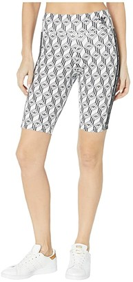 adidas adiColor Monogram Cycling Shorts (Black/White) Women's Shorts