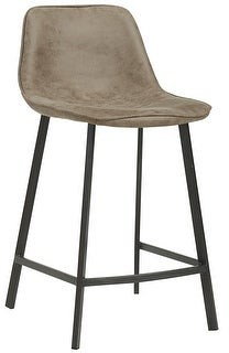 Worldwide Homefurnishings Buren Faux-suede and Metal Counter Stools